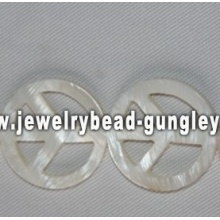 contas de água doce shell de forma de símbolo de paz