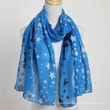 Novo estilo Grande tamanho Brand New Voile Star Scarf Color Blue Fashion Shawls, Lady Scarf, Polyester Scarf