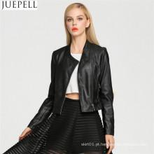 Europa e as mulheres novas senhoras parágrafo curto PU jaqueta de couro da motocicleta jaqueta de couro estilo de rua mulheres jaqueta