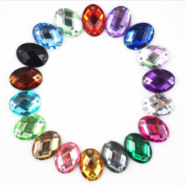 10x14mm Oval Sew on Acryl Diamante