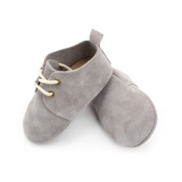 Quality Real Suede Leather Grey Baby Oxford Shoes Wholesale