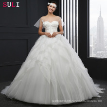 SL043 Cheap Sheer Long With Ruffles Short Sleeve Wedding Dress 2016