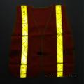Gilet de sécurité en mousse orange fluorescent avec bande prismatique