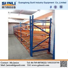 Gravidade de China quente venda armazém bandejas caixa fluxo sistema de prateleiras de Metal de armazenamento