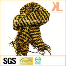 Акриловая зимняя теплая желтая ласточка / Подвязанный плетеный шарф с петлей