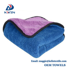 Best selling double side microfiber coral fleece car cleaning cloth towel