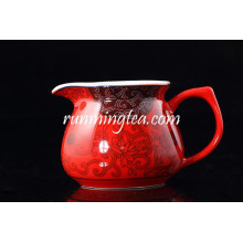 Chinese Red Porcelain Infuser Pitcher