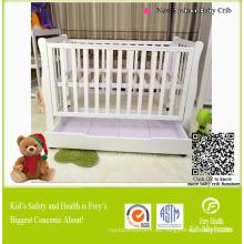 Muebles de madera maciza de bebé de cuna con cajón