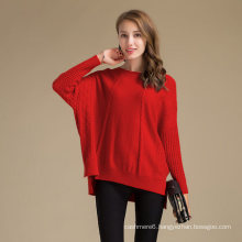 Classy Batwing Roung Neck Collar Merino Wool Cashmere Sweater For Girls