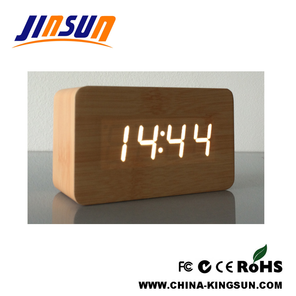 Alarm Wooden Clock Led