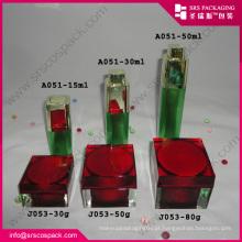 Elegante vermelho creme cosméticos acrílico quadrado recipiente