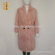 Veste de fourrure en peau de mouton rose chaud