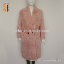 Hot sale warm winter ladies rosa pele de carneiro casaco de pele