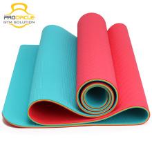 Esteira amigável da ioga do TPE da franja Tri-color do exercício da aptidão