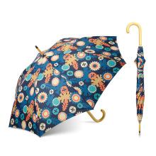 Topumbrella calificó el paraguas doble de la impresión de la transferencia de calor de la capa, logotipo de la aduana del paraguas