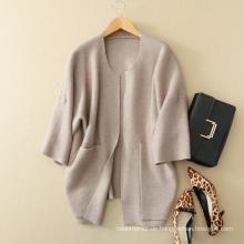 Damen Fledermaus Ärmel langen Mantel Design 100% Kaschmir gestrickte dicken offenen Stich Strickjacke für den Winter