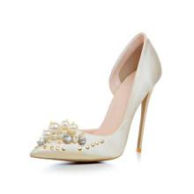 China wholesale big size women satin upper rhinestone ladies pencil high heel dress shoes guangzhou