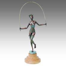 Figura Dancer Statue Lady Skip Bronze Sculpture TPE-597