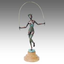 Danseur Figure Statue Lady Passer Bronze Sculpture TPE-597