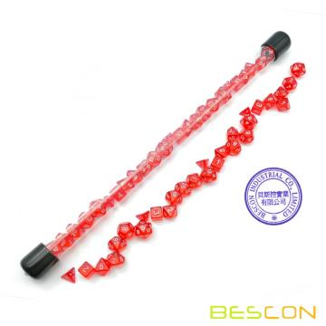 Bescon 28pcs Translucent Red Mini Polyedrische Würfel Set in Tube, Ruby Dice Dungeons und Dragons 4X7pcs, Mini Ruby Gem Dice Set