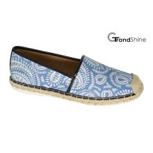 Женская повседневная Espadrille печатные ткани плоские туфли