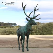 Парк украшения высокое качество популярный дизайн бронзовый олень скульптура для продажи