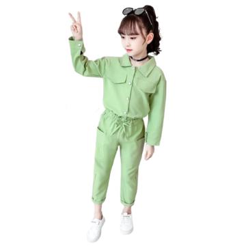 Симпатичный однотонный однотонный костюм с длинными рукавами для девочек весна-осень