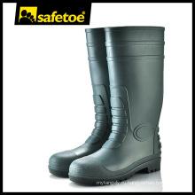 Стальные ботинки дождя безопасности PVC пальца ноги W-6038G