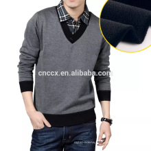 15JW0322 leichte V-Ausschnitt Männer Kontrastfarbe Pullover Pullover