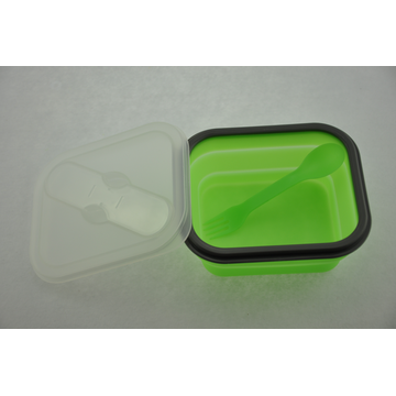 Dengan Lid Silicone Collapssible Folding Food Lunch Box