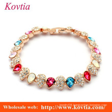 new products 2016 hot item two stone small drop linked gold tennis bracelet