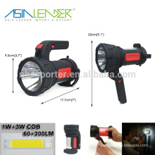 100% 3W LED On - 50% 3W LED On - 6W COB On With Adjustable Rechargeable Torch
