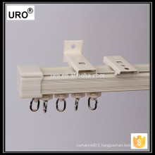 thin white sliding rolling curtain track