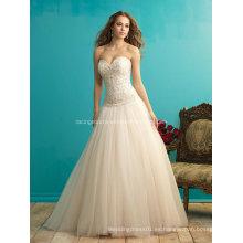 Pretty Princess Ball Gown Embroiday Bead vestido de novia de la boda