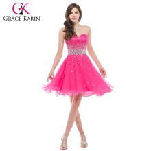 Wholesale Charming Hot pink Organza Sweetheart Beaded Ball Gown Cocktail Dresses Short CL6145-2