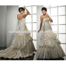 WD0046 с плеча тафты без бретелек милая декольте бисером тримед слегка взъерошенные лиф бальное платье золотые свадебные платья