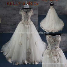 2017 newest style emboridery lace decorated sweetheart backless sleeveless long tail prom ball gown wedding dress