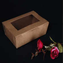 Oil proof Kraft paper box with window