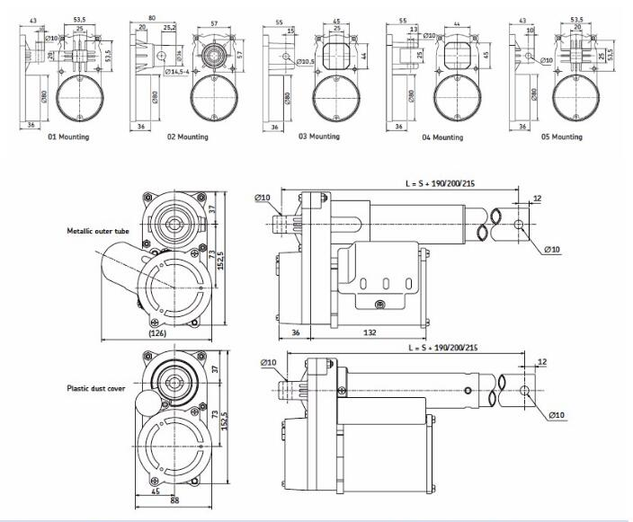 GRA series ac linear motor/ dimension