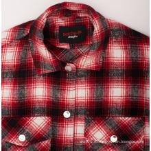 Оптовые модные мужские рубашки из эластичной ткани из фланели на заказ