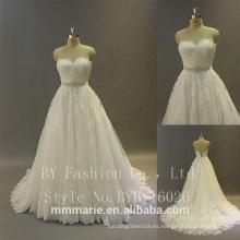 Vestidos de boda del diseñador La correa hinchada grande del corsé de la muestra verdadera rebordeó pesado el cordón 2017 Nuevo vestido de bola del diseño