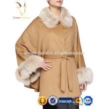 Latest Luxury Lady 100% Cashmere Wool Shawl With Fox Fur Custom Color