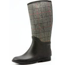 Gray Wool Fabric Riding Rubber Rain Boots