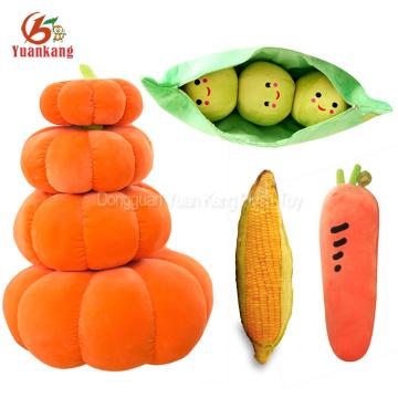 Custom Stuffed Vegetables And Fruits Toy Pumpkin Zanahoria Strawberry Corn Kiwi Mango Mushroom Bean Bag Banana Pineapple Plush Toy