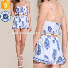 Drucken Schnürung Crop & Matching Short Set Herstellung Großhandel Mode Frauen Bekleidung (TA4121SS)