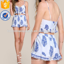 Print Lace Up Crop & Matching Short Set Manufacture Wholesale Fashion Women Apparel (TA4121SS)