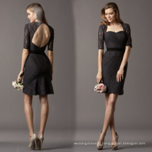 HB0001 anne neckline with a keyhole back with button Elbow length sleeve knee length skirt bridesmaid dress