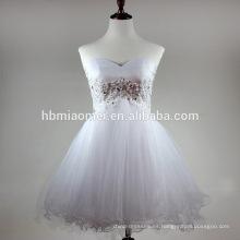 Sexy sweet heart hombro vestido de noche de color blanco con cuentas de mano cremallera espalda vestido de noche corto venta al por mayor