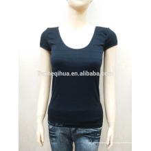 Inherente alta calidad sin costuras de la camiseta de diseño de moda de bajo collar