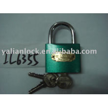 Arc type green color iron padlock